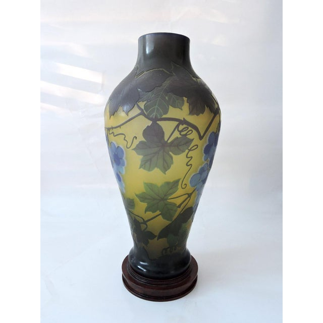 'Galle' Style Vine & Grape Glass French Vase For Sale - Image 4 of 6