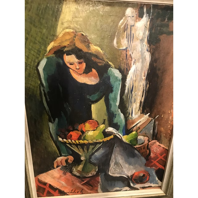Colorful expressionist painting by Frederick Buccholz of a woman and ghost. In gray wooden frame.