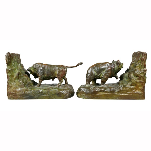 Bronze Animalier Bookends Retailed by Theodore B Starr Inc. - a Pair For Sale In Boston - Image 6 of 12