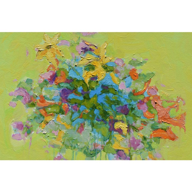 Stephen Remick Abstract Bouquet on Green Background Painting For Sale In Providence - Image 6 of 11