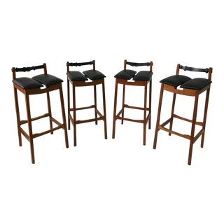 Set of Four Leather Strap Danish Barstools