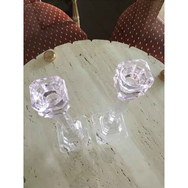Chippendale Val St. Lambert Crystal Candlestick Holders For Sale - Image 3 of 6