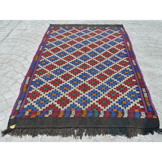 "Turkish Hand-Woven Rug Kilim Braided Nomadic Rug - 5' X 8'4"" For Sale - Image 3 of 12"