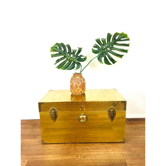 Brass Vintage Campaign Chest Coffee Table Trunk For Sale - Image 8 of 10