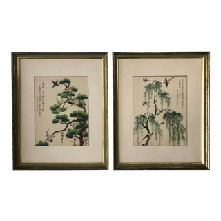 Vintage Japanese Bird and Tree Prints in Green and Gilt Frames - a Pair For Sale