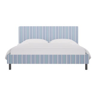California King Tailored Platform Bed In Porcelain Austin Stripe By Old World Weavers For Sale
