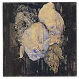 """Image of Charles Rennie Mackintosh Faded Roses 18"""" X 18"""" Poster Art Nouveau Brown, White, Blue Flowers, Leaves For Sale"""