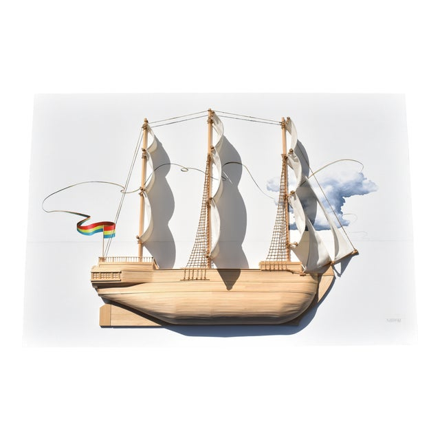 Weston Jandacka 'Sail Boat No. 2' 3D Sculpture Painting For Sale