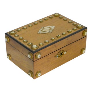 Antique Box With Brass and Mother of Pearl Insets For Sale