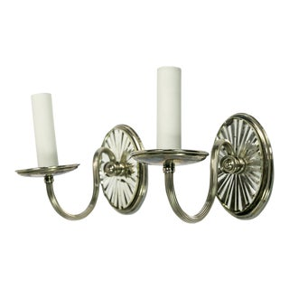 E. F. Caldwell Candlestick Silver Mirrored Sconces, Pair For Sale