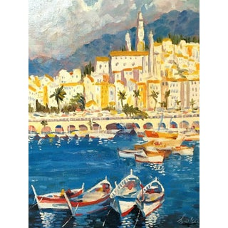 Contemporary Large Mediterranean Town of Menton Oil Painting by Lora For Sale
