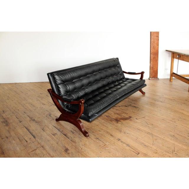 Vintage Black Tufted Sofa- Low Profile - Image 6 of 8