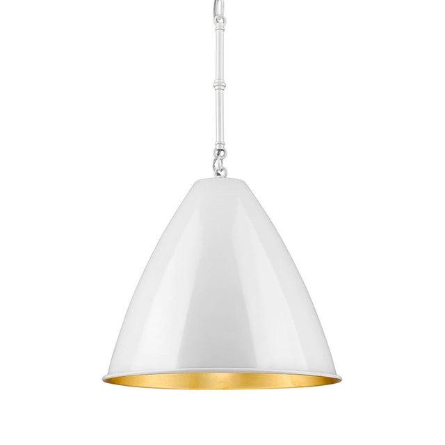 2010s Lenox 1 Light Rod Pendant, Ceramic White and Gold Leaf For Sale - Image 5 of 5