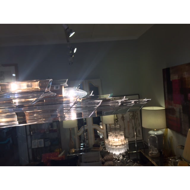 1970's Lucite and Brass Pendant Chandelier - Image 5 of 11