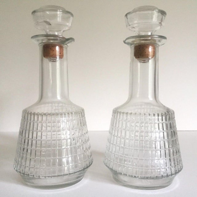 Transparent Vintage Mid Century Modern Square Cut Glass Decanters - a Pair For Sale - Image 8 of 8