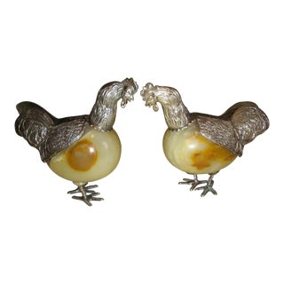 Peruvian Sterling Silver Chicken Figurines - a Pair For Sale