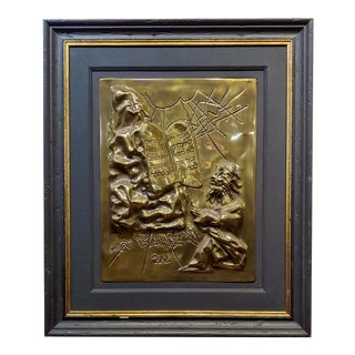 """""""Moses & the Ten Commandments"""" Limited Edition Gold Plated Metal Plaque For Sale"""
