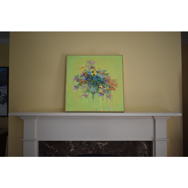 Abstract Stephen Remick Abstract Bouquet on Green Background Painting For Sale - Image 3 of 11