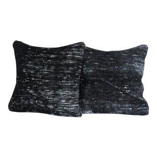 Vintage Distressed Black Hand-Knotted Rug Pillows - a Pair For Sale