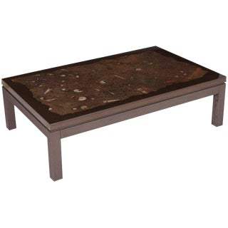 Etienne Allemeersch Coffee Table With Fosil Inlay, 1970s For Sale