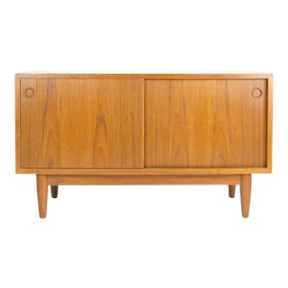 Danish Modern Teak Sliding Door Record Cabinet For Sale