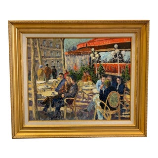 """Late 20th Century Andre Bardet """"First Light in Paris"""" Painting For Sale"""
