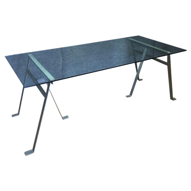 Glass & Metal Architect's Desk or Dining Table - Image 1 of 8