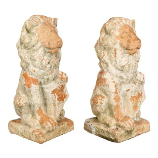 19th Century Antique French Terracotta Lion Statues - A Pair For Sale