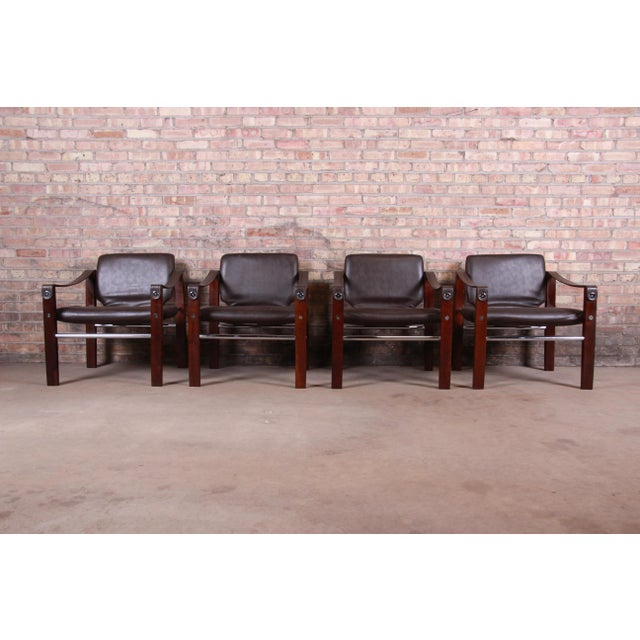 Mid-Century Modern Maurice Burke for Pozza Mahogany and Leather Safari Chairs, Set of Four For Sale - Image 3 of 13