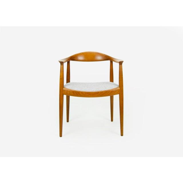 Danish Modern Hans Wegner for Johannes Hansen Teak Round Arm Chair For Sale - Image 3 of 13
