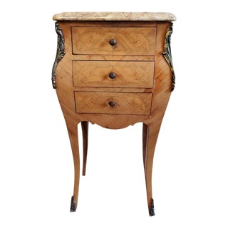 Vintage French Faded Floral Marquetry Bombe Chest of Drawers Nightstand or Side Table For Sale