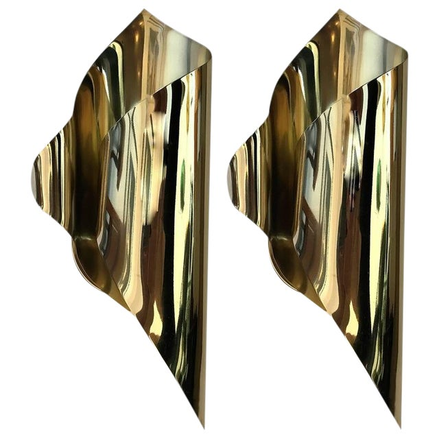 1970s Mid-Century Modern Charles et Fils Brass Wall Lights - a Pair For Sale
