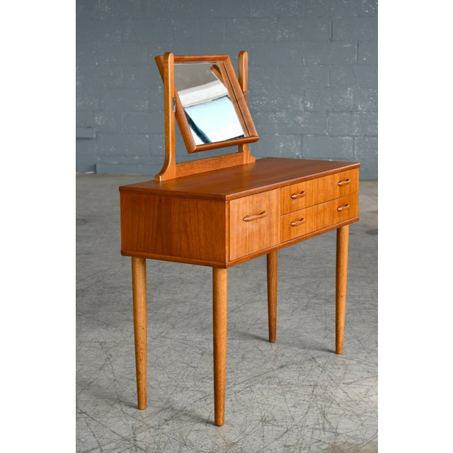 Mid-Century Modern Danish Mid-Century Vanity or Dressing Table in Teak With Mirror and Drawers For Sale - Image 3 of 13