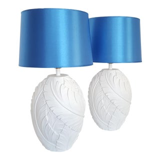 White Plaster Palm Tree Banana Leaves Table Lamps - a Pair - Restored For Sale