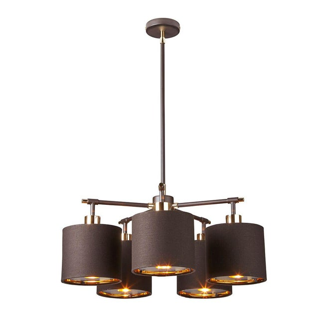 Modern Balance Brown/Polished Brass 5-Light Chandelier For Sale - Image 3 of 4