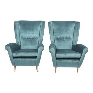Pair of Gio Ponti Armchairs, Model 512, Italy For Sale
