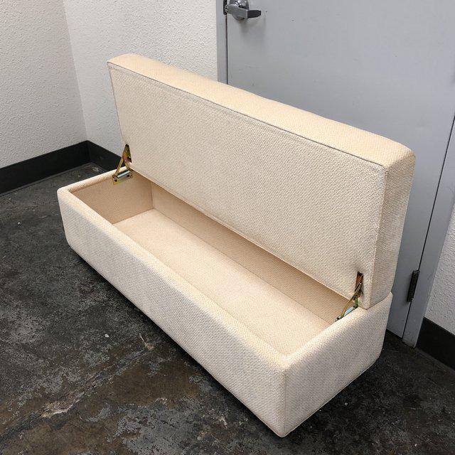 Design Plus Gallery presents a custom storage ottoman/bench. The bench is upholstered in & Contemporary Custom Cream Fabric Storage Bench/Ottoman | Chairish
