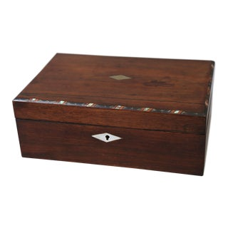 19th Century English Mahogany Box With Shell Inlay