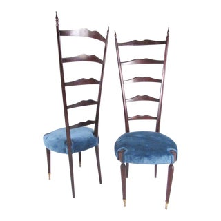 Pair of Mid-Century Modern Chiavari Style High Back Chairs For Sale