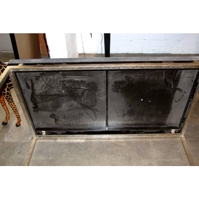 Metal Faux Shagreen and Metal Coffee Table For Sale - Image 7 of 10