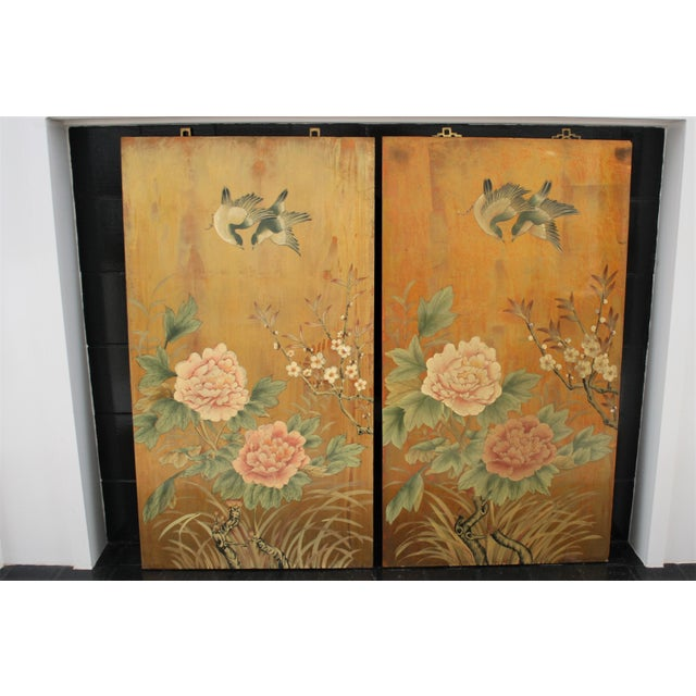 This is a lovely pair of decorative Chinese wall panels that are chinoiserie in style depicting peonies, branches and...