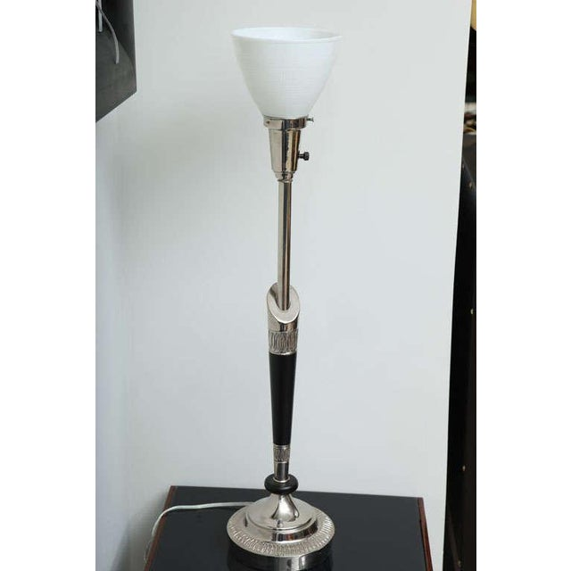 Ebony Pair of Stiffel Nickel and Ebonized Wood Table Lamps For Sale - Image 7 of 10