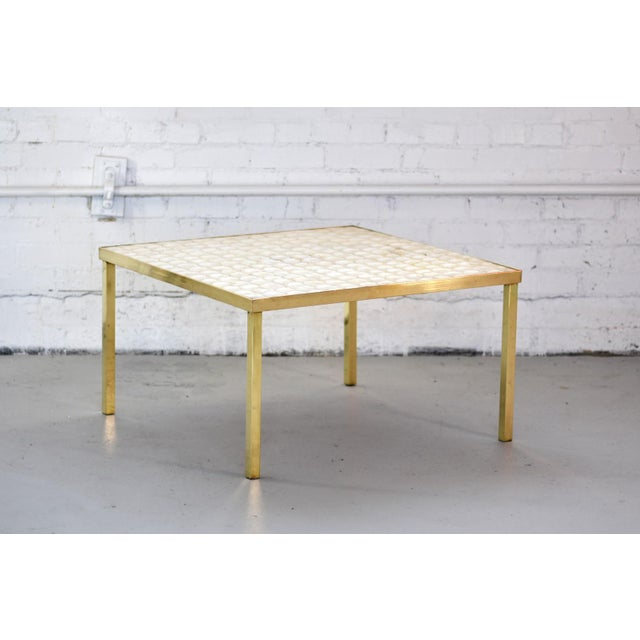 Vintage Hollywood Regency Brass and Capiz Shell Accent Table Attribited to Billy Haines For Sale - Image 13 of 13