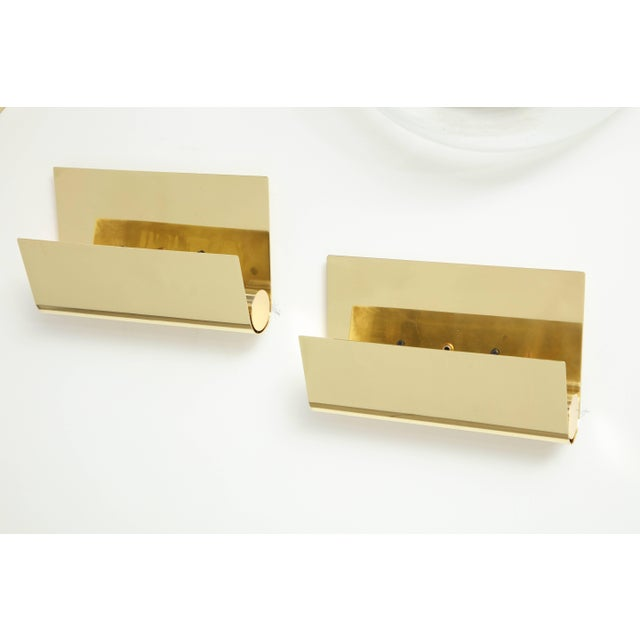 Brass Minimalist Italian Brass Sconces - a Pair For Sale - Image 8 of 9