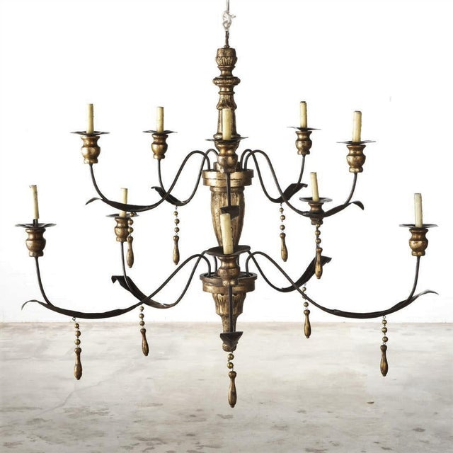 Monumental Ten Light Italian Painted Chandelier With Gold Leaf Tassels For Sale - Image 4 of 4