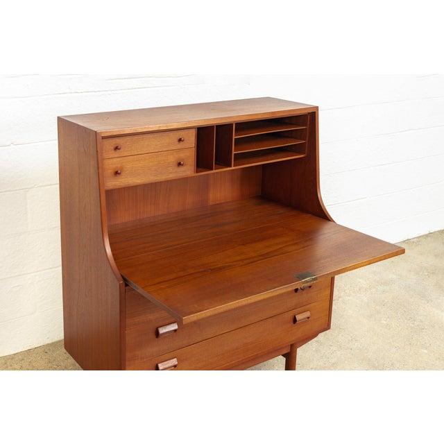 Wood Mid Century Danish Modern Borge Mogensen Teak Wood Secretary Desk For Sale - Image 7 of 11
