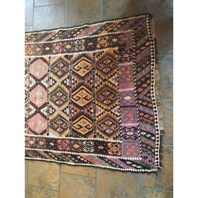 Islamic Antique Earth Tones Kilim Rug - 4′ × 9′ For Sale - Image 3 of 11
