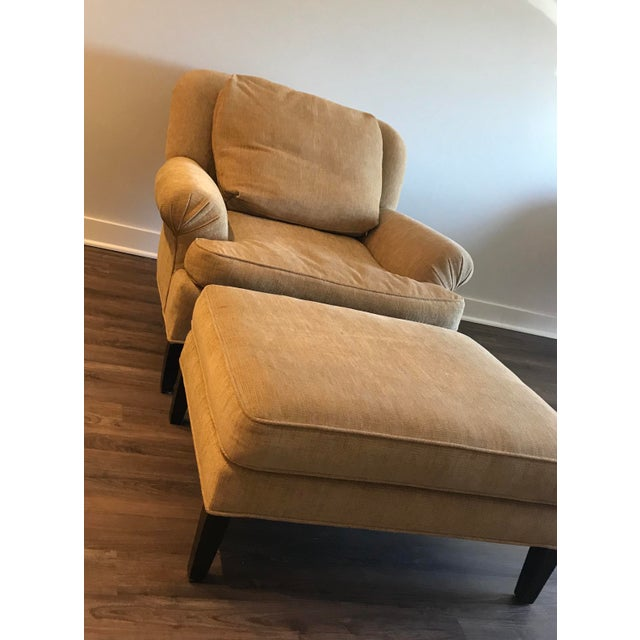 Pearson 1990s Pearson Club Chair and Ottoman Restyled in Ralph Lauren Khaki Fabric For Sale - Image 4 of 13