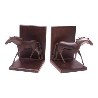 Brutalist Metal and Wood Horse Bookends - a Pair For Sale