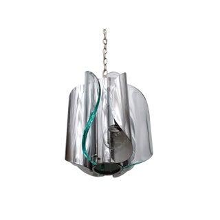 Italian Midcentury Chrome and Glass Fontana Arte Light Fixture, Circa 1970 For Sale